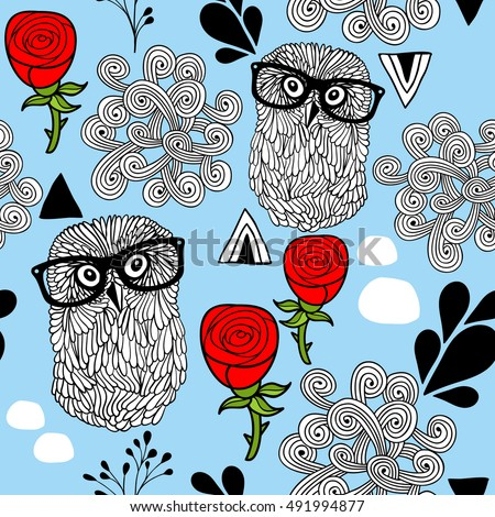 Winter owls seamless background. Vector pattern with birds in eyeglasses and abstract design elements.