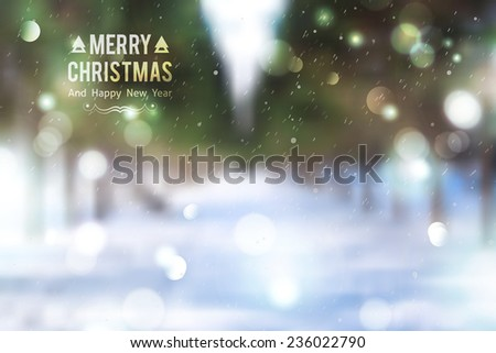 Winter park alley, vector blurred background. Merry christmas and happy new year. - stock vector