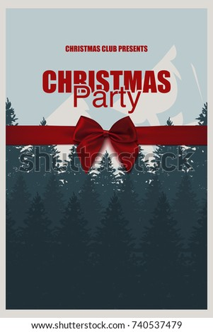 Winter Party Brochure Template Elegant Christmas Stock Vector