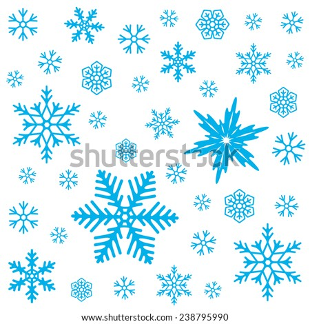 Winter pattern. Blue snowflakes on white background. Abstract seamless pattern. Vector illustration. - stock vector