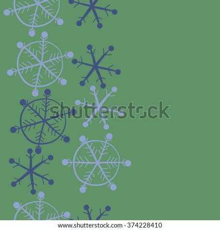 Winter pattern, doodles, ellipses,objects,snowflakes, seamless, vertical, copy space. Hand drawn.