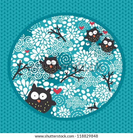 Winter pattern with owls and snow. Vector doodle texture.