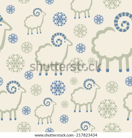 winter pattern with snowflakes and rams - stock vector