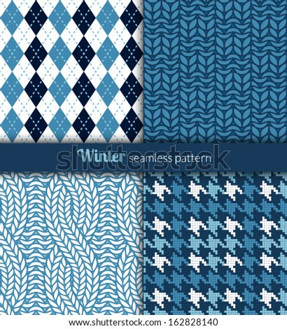 Winter patterns. Blue and white fabric. - stock vector