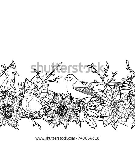 Winter Plants Birds Seamless Border Nature Stock Vector Royalty Free 749056618