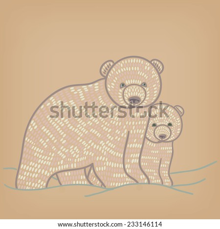 winter polar  bear couple - stock vector
