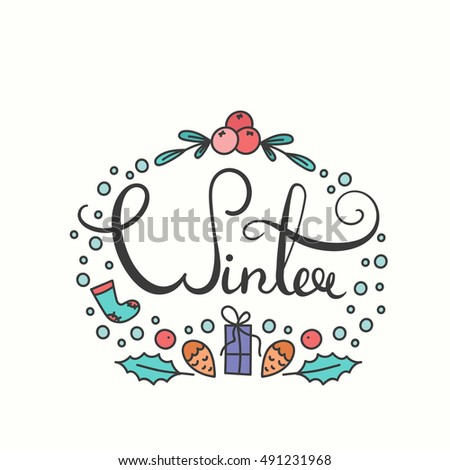 Winter Poster with Lettering. Typographic Background with Winter Season Greetings. Snowflakes in Line Art Style. Illustration for Congratulation Card and Print. Winter Text Print.