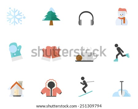 Winter related icon series in flat color style - stock vector