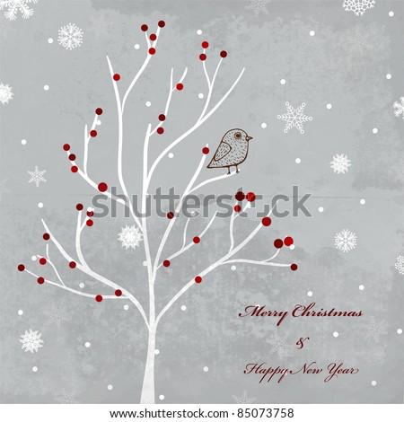 Winter retro background for christmas invitation - stock vector