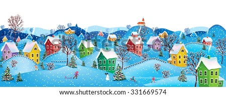 Winter rural landscape to a happy Christmas - stock vector