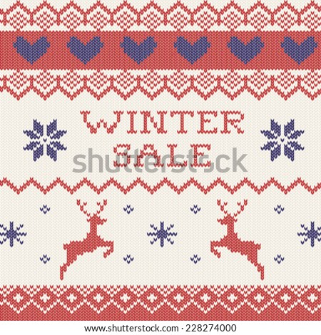 Winter sale announcement in sweater texture - stock vector