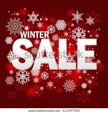 Winter sale background - stock vector