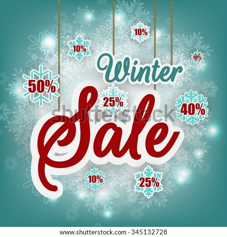 Winter sale background banner and discount.vector - stock vector
