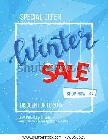 Winter Sale Banner Poster Flyer Template Stock Vector