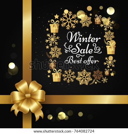Winter sale best offer poster with gift bow, decorative square frame made of golden snowflakes, presents boxes in xmas concept vector on black with splashes