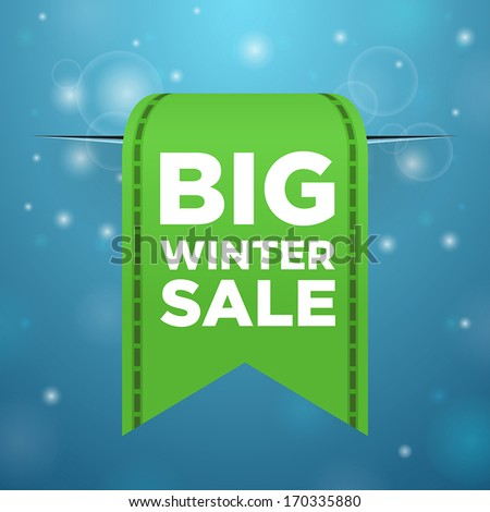 Winter sale big green ticket on blue background - stock vector