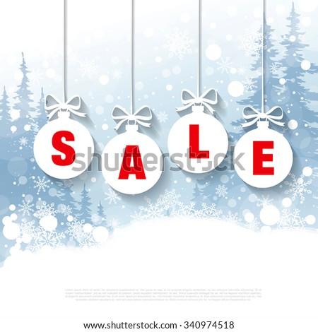 Winter sale. Christmas balls - stock vector