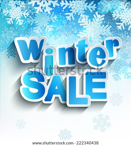 Winter sale inscription  in paper style on bright blue background with snowflakes, vector illustration. - stock vector
