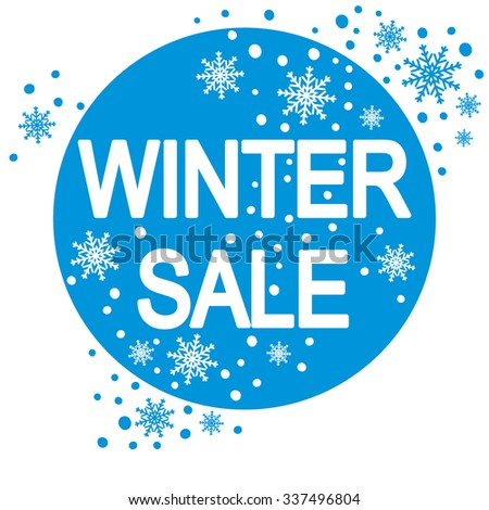 Winter sale inscription with snowflakes.  - stock vector