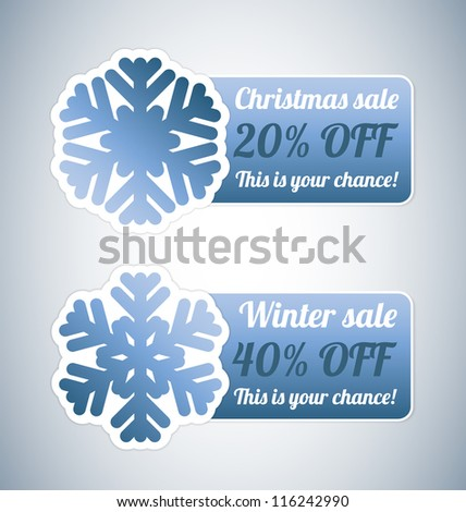 Winter sale label with blue snowflake - stock vector