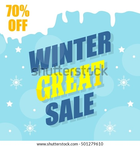Winter sale poster, Winter promotional brochure