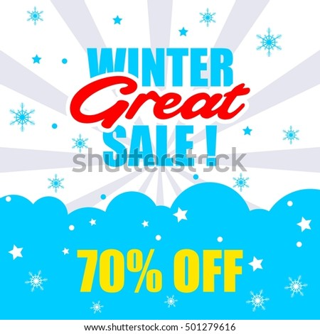 Winter Sale Poster Winter Promotional Brochure Stock Vector
