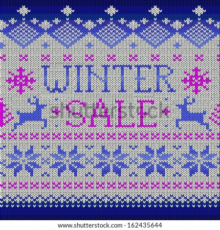Winter Sale: Scandinavian style knitted pattern with deers