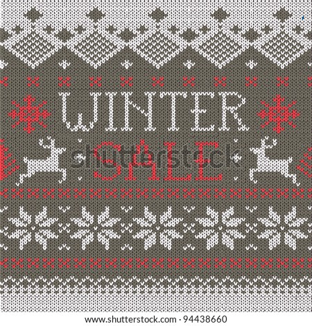 Winter Sale: Scandinavian style seamless knitted pattern with deers - stock vector