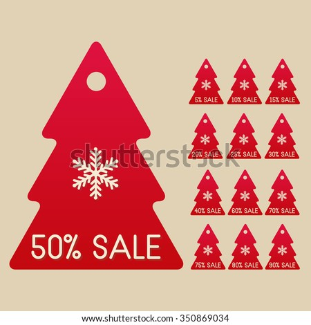 winter sale set of isolated christmas trees with 5 10 15 - Discount Christmas Trees