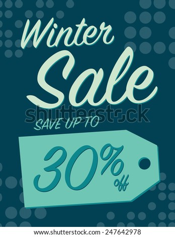 Winter sale sign save up to 30% off - stock vector