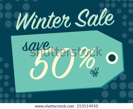 Winter sale sign tag with 50% off original price - stock vector