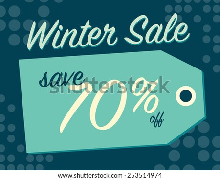 Winter sale sign tag with 70% off original price - stock vector