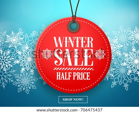 Winter sale tag vector banner. Red sale tag hanging in white winter snow flakes background for seasonal retail promotion. Vector illustration.