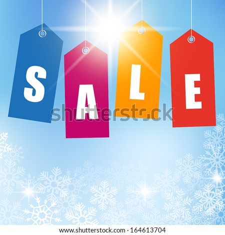 WInter sales background with colorful price tags. - stock vector