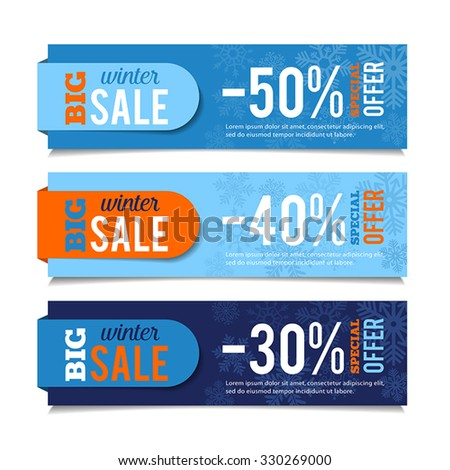 Winter sales banners, seasonal advertising, marketing events. For web or print. Vector graphic. - stock vector