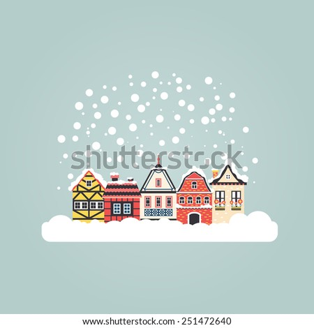 Winter scene with an european city and snow. Beautiful houses covered with snow. Xmas concept made in vector. Seasonal architecture. Vector flat illustration. - stock vector