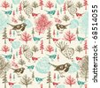 Winter scene with birds seamless pattern - stock vector