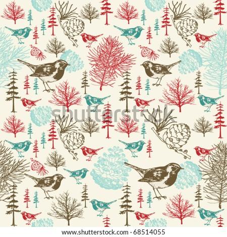 Winter scene with birds seamless pattern - stock vector
