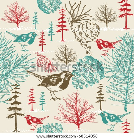 Winter scene with birds seamless pattern