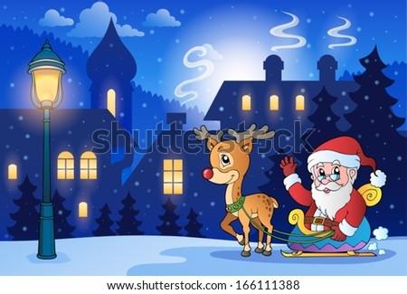 Winter scene with Christmas theme 6 - eps10 vector illustration. - stock vector