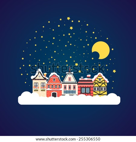 Winter scene with european city at night time. Beautiful houses covered with snow. Xmas concept made in vector. Seasonal architecture. Vector flat illustration. - stock vector
