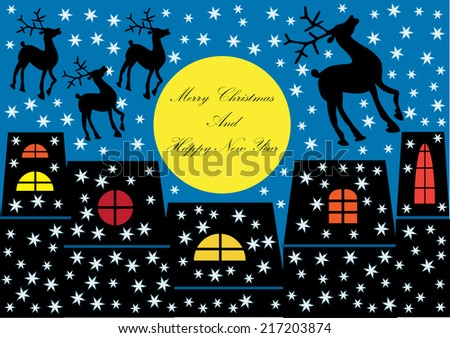 winter scene with houses silhouettes and christmas reindeer