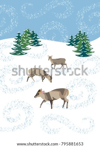 Winter scene with muntjac deer in snow flurry