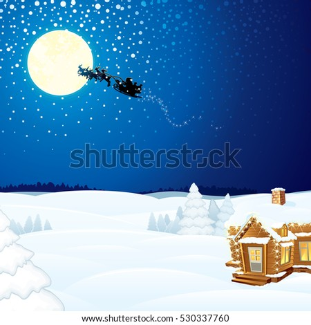 Winter Scene with Santa Claus on Sleigh and Wooden House. Ready for Your Text and Design.