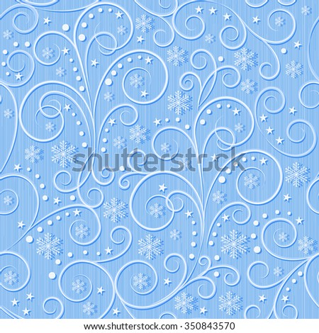 winter seamless pattern, blue swirl lines and white snowflakes on light blue background, seamless pattern, vector illustration - stock vector