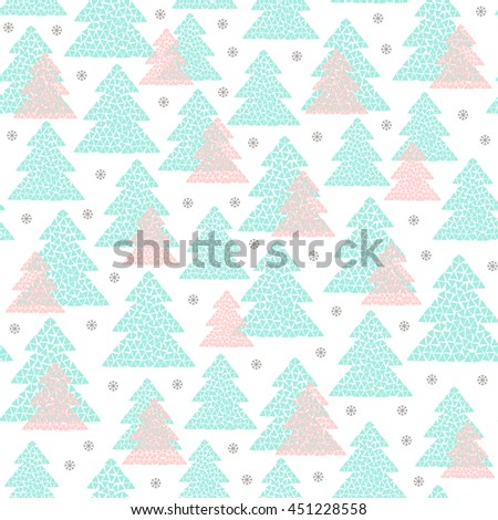 Winter seamless pattern of pink and green mosaic fir trees and snowflakes. Simple geometric Happy New Year and Christmas background. Cold northern wood in Scandinavian style. Vector illustration. - stock vector