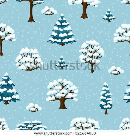 Winter seamless pattern with abstract stylized trees. - stock vector