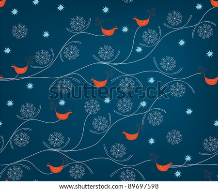 Winter seamless pattern with birds and snow