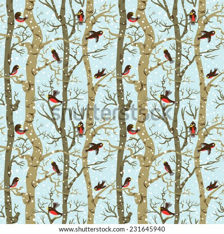 Winter seamless pattern with birds on trees - stock vector