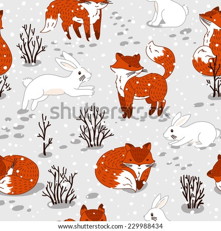 Winter seamless pattern with cute foxes and bunny. Vector illustration - stock vector